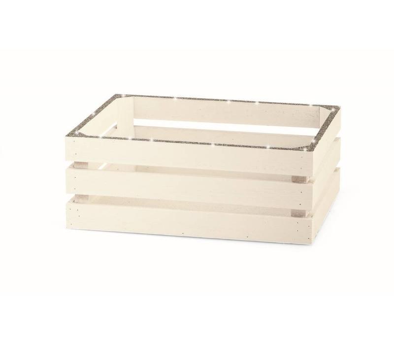Deko Holzkistchen Glitter | Weiss/ Silber | klein