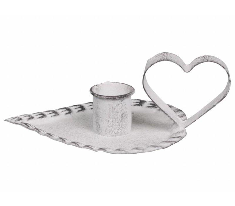Kerzenhalter Herz | Antique Weiss