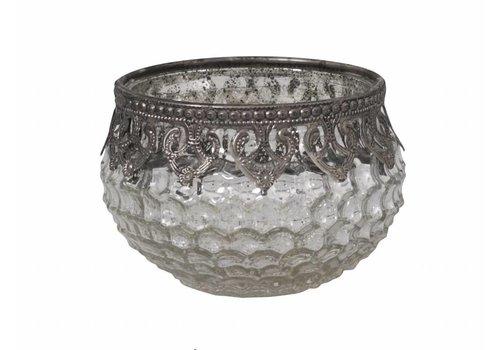 Chic Antique Teelichthalter Schale | Glas | Antik Silber