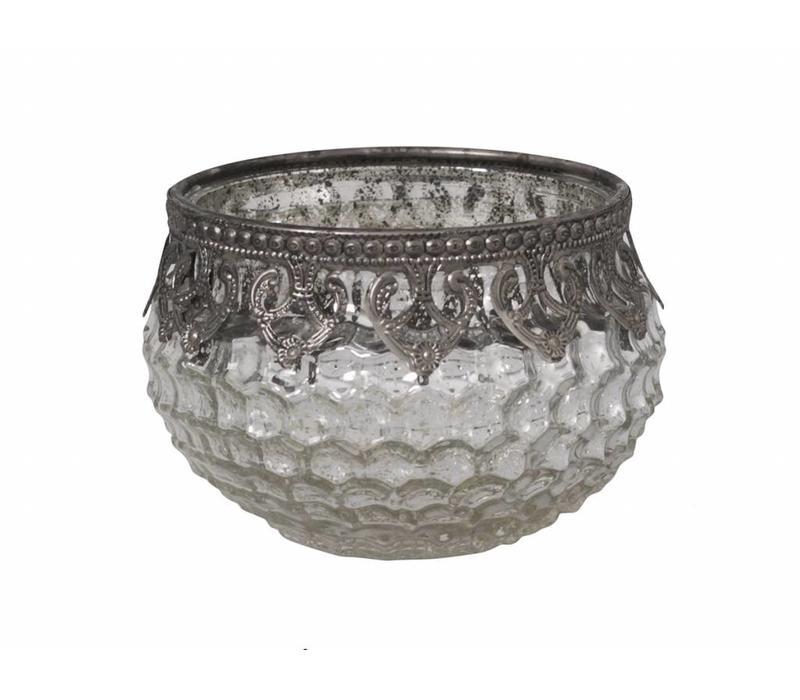 Teelichthalter Schale | Glas | Antik Silber
