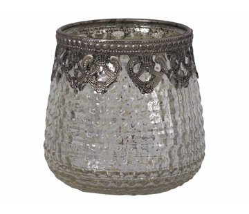 Chic Antique Teelichthalter Ampel Gross   Glas   Antik Silber