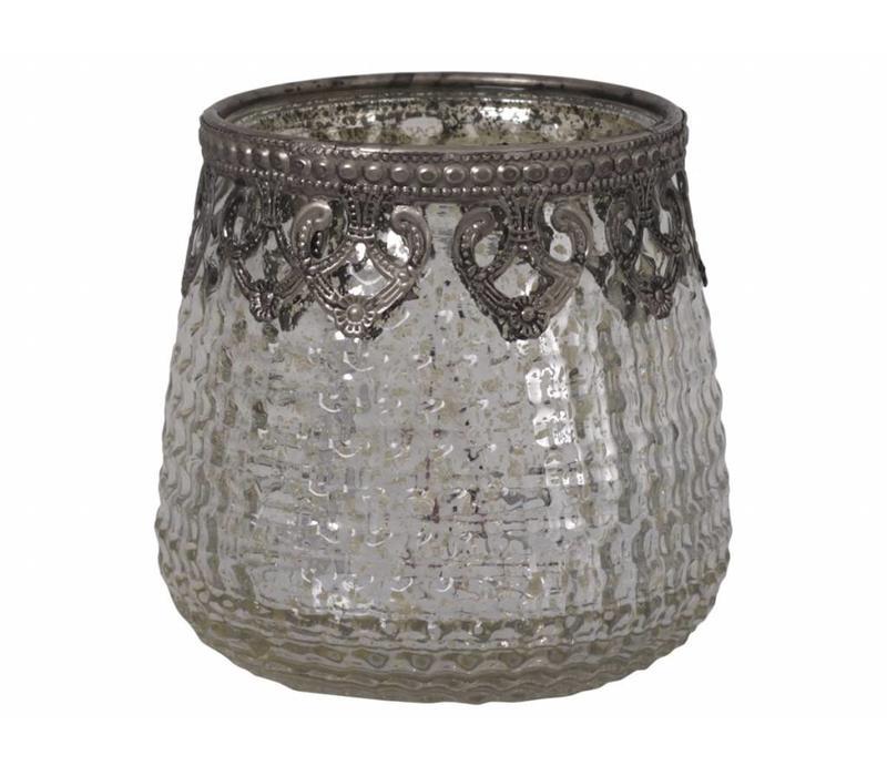 Teelichthalter Ampel Gross | Glas | Antik Silber