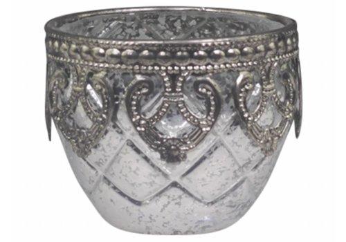 Chic Antique Teelichthalter Silber Dekor | Glas | klein