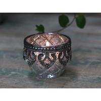 Teelichthalter Silber Dekor | Glas | klein