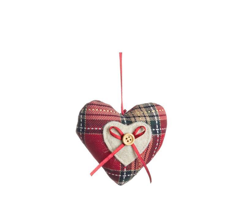 Dekoanhänger Herz klein | Karo Rot