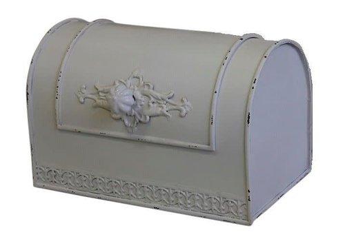Chic Antique Franzosische Brotbox mit Spitzenkante Antikweiss