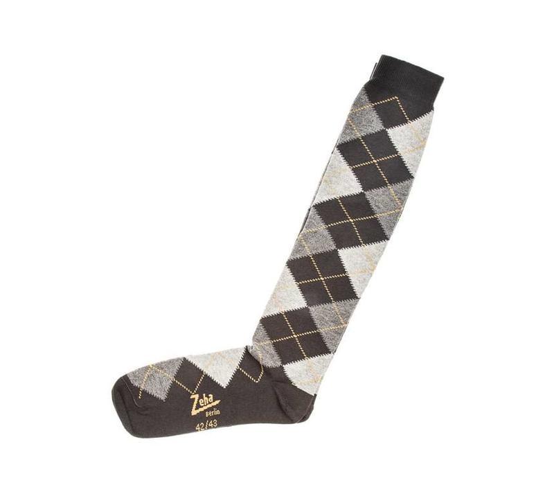 Socken | Lang | hellgrau/dunkelgrau/gelb