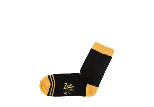 Zeha Berlin Socken | Kurz | schwarz, Ferse gelb