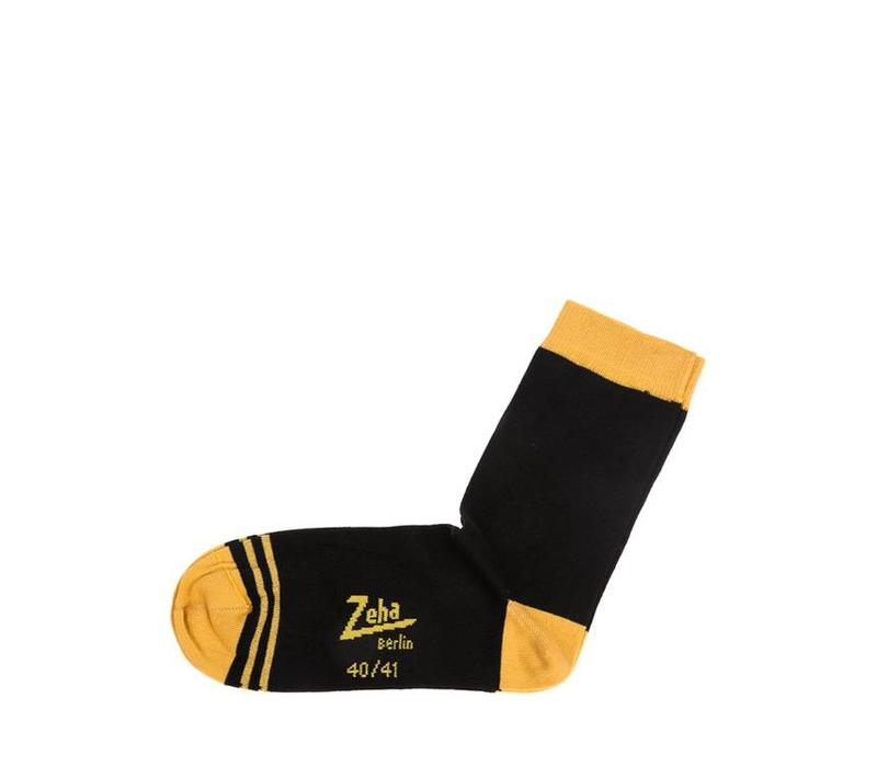 Socken | Kurz | schwarz, Ferse gelb