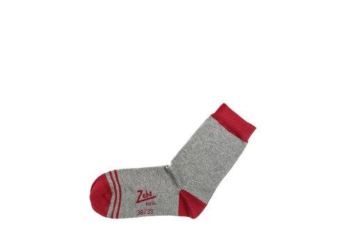 Zeha Berlin Socken | Kurz | grau, Ferse rubinrot