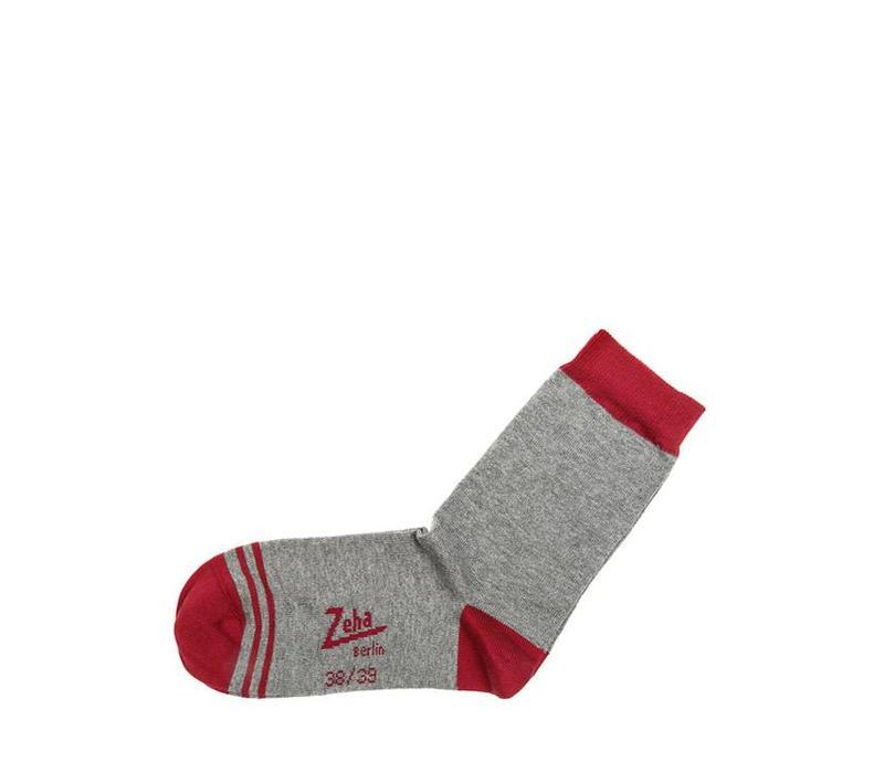 Socken   Kurz   grau, Ferse rubinrot