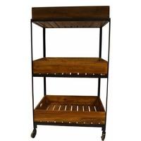 Rollwagen mit 3 Holztablaren | Vintage Stil
