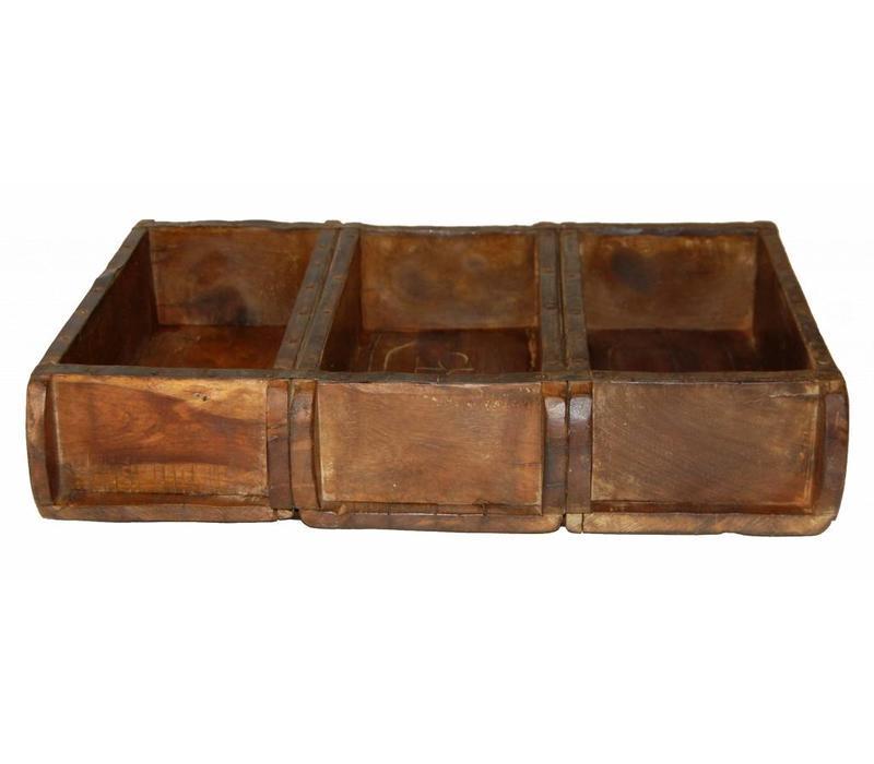 Alte Ziegelform aus Holz | 3 er Fach | echte Patina