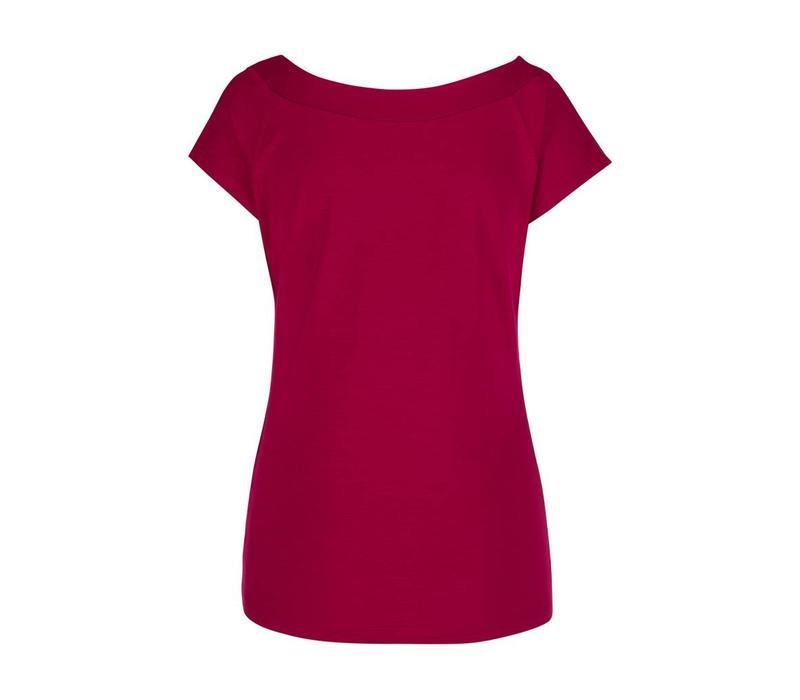 Shirt | Sarah Top Viscose Lycra | lipstick pink