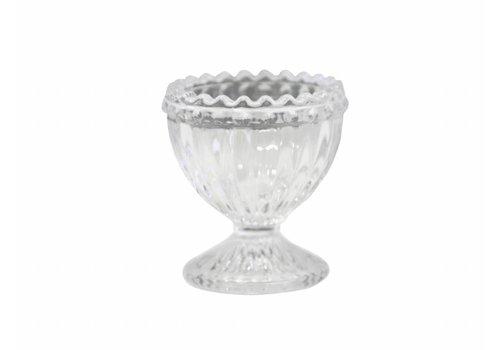 Chic Antique Eierbecher aus Glas | mit Perlenkante | Weiss