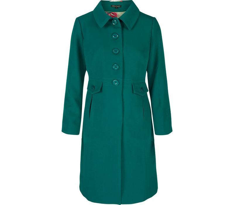 Mantel | Luisa Coat Heavy Polyester Crepe | Ponderosa Green