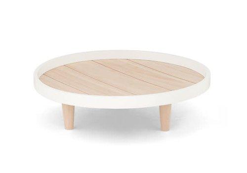 Dekotablet | Holz | Braun/Weiss | D 40cm.