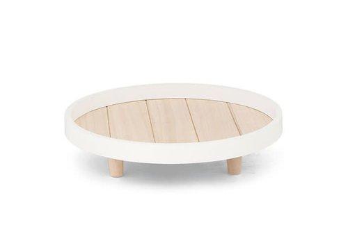 Dekotablet | Holz | Braun/Weiss | D 30cm.