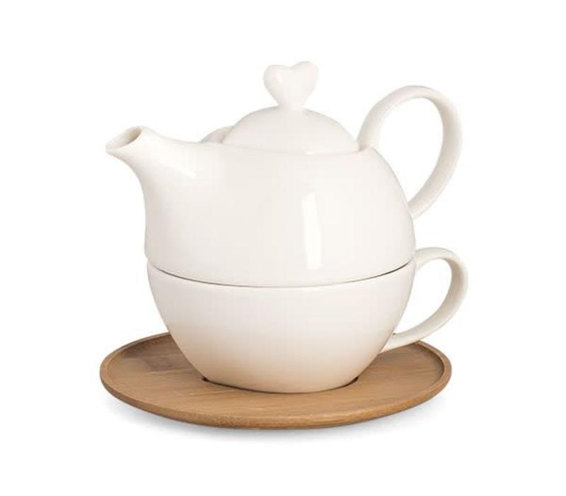 Teekrug mit Tasse Valentin | Herz | Bambusbrett