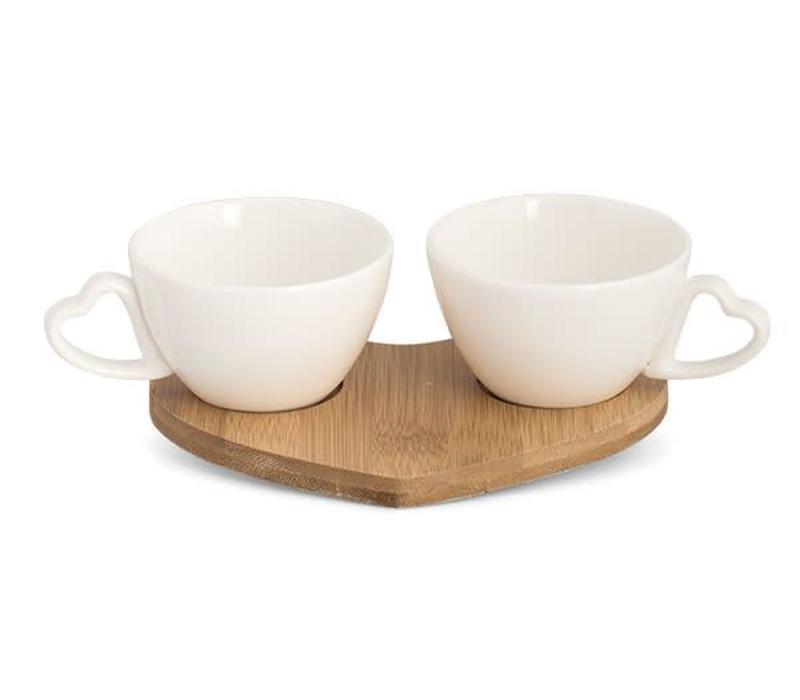 Tassen Set Valentin | Herz Henkel | Bambusbrett