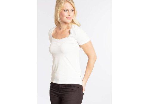 Blutsgeschwister Top | logo shortsleeved feminin | white sparkling spume