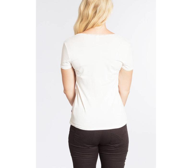 Top | logo shortsleeved feminin | white sparkling spume