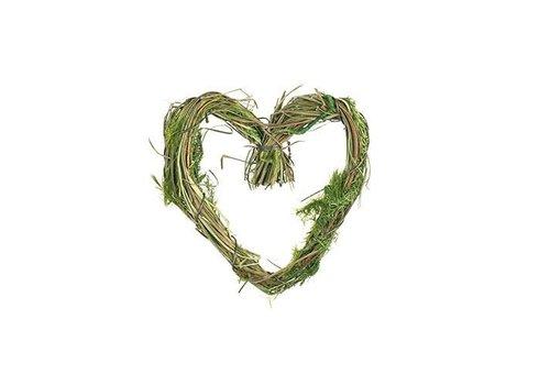 Dekoanhänger | Grüne Herzen | Deko Heu | Ostergrün