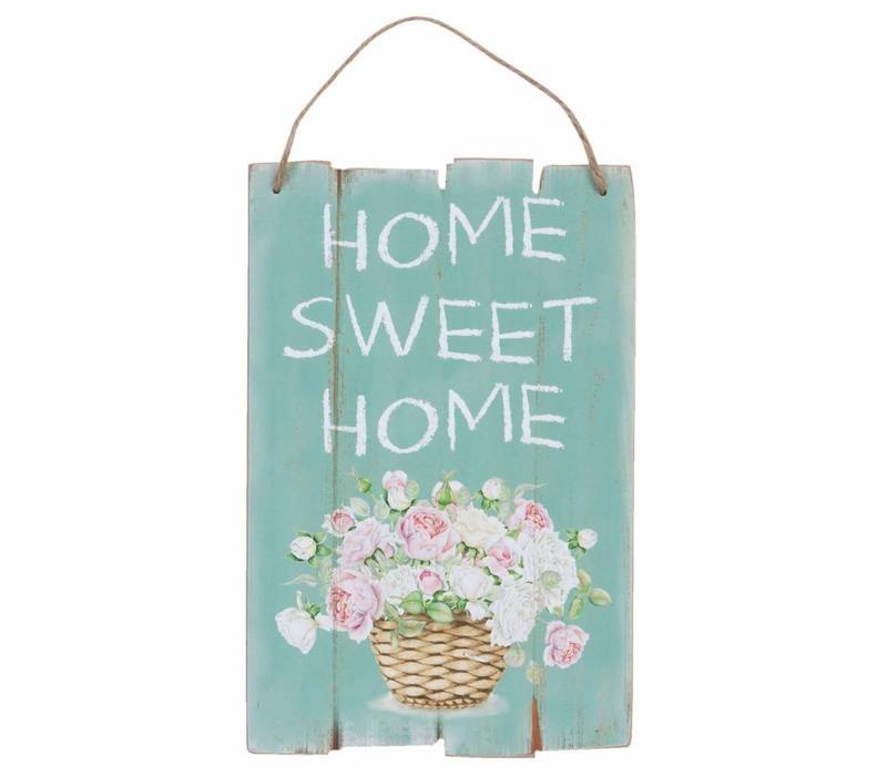Holzschild | Home sweet home | Rosen