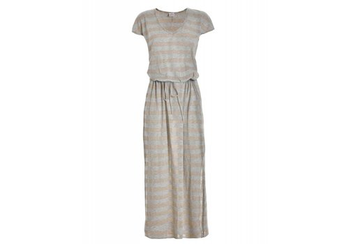DEHA Kleid | LONG TEE DRESS | SAND SILVER STRIPES