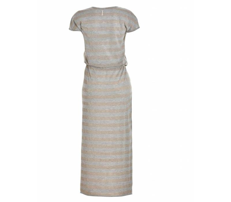 Kleid | LONG TEE DRESS | SAND SILVER STRIPES