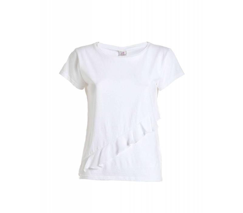 Shirt | RUFFLE T-SHIRT | WHITE