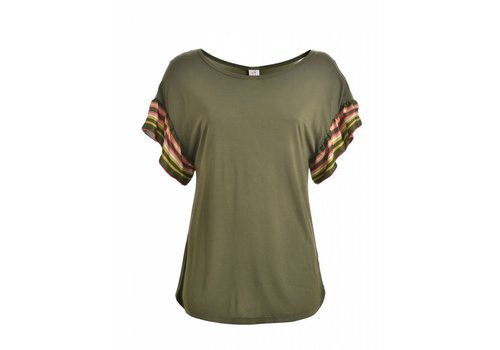 DEHA Shirt |  RUFFLE SLEEVE T-SHIRT | OLIVE GREEN
