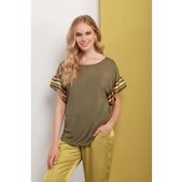 Shirt |  RUFFLE SLEEVE T-SHIRT | OLIVE GREEN