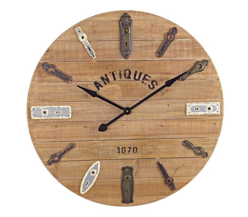 Wanduhr Holz Vintage | Alte Türschlösser