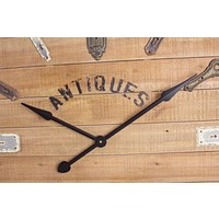 Wanduhr Holz Vintage   Alte Türschlösser