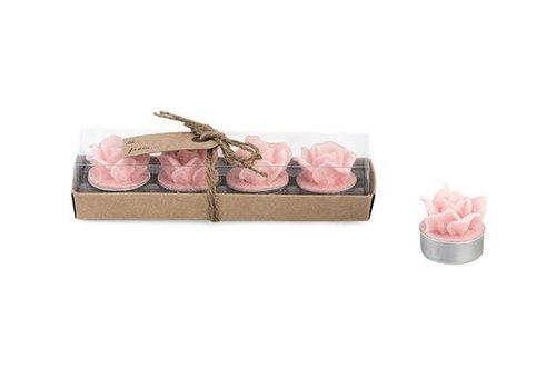 Rechaudkerzen Rose | 4er Geschenkset | Rosa