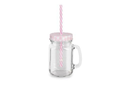Trinkglas mit Deckel, Griff, Strohhalm | Rosa