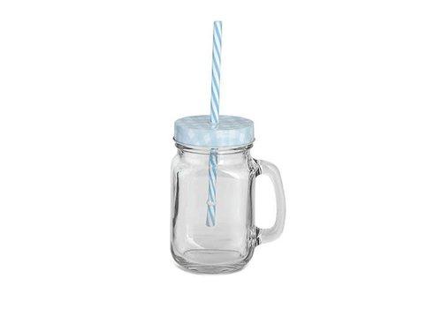 Trinkglas mit Deckel, Griff, Strohhalm | Hellblau