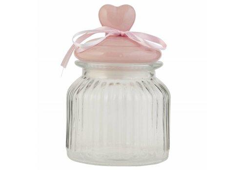 Clayre & Eef Vorratsglas Herz | Rosa | Ø11x16cm