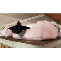 Katzenbett | Stoff gepolstert | Braun/Rosa Herz