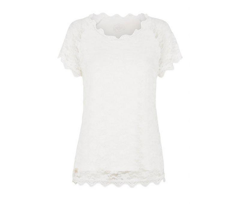 T-Shirt mit Spitze | Pearl | Creme