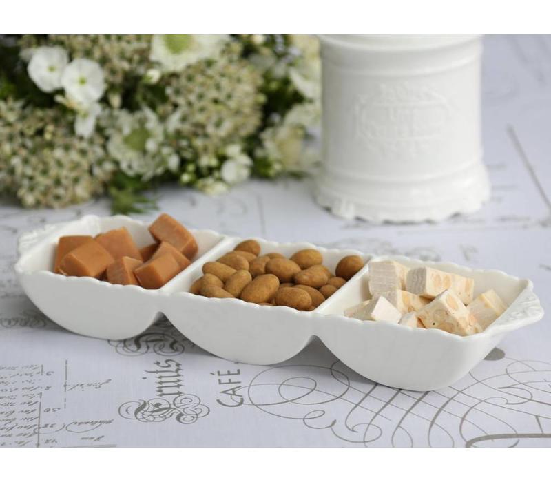 Snackschüssel mit 3 Fächern | Provence | Weiss