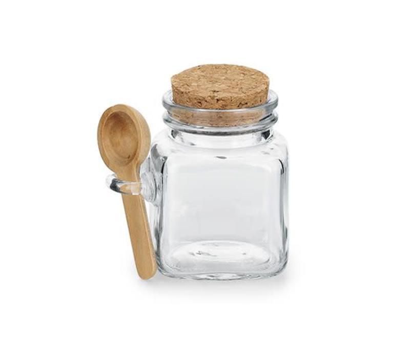 Salz- Gewürz Glas mit Löffel und Korkdeckel | Meersalzglas