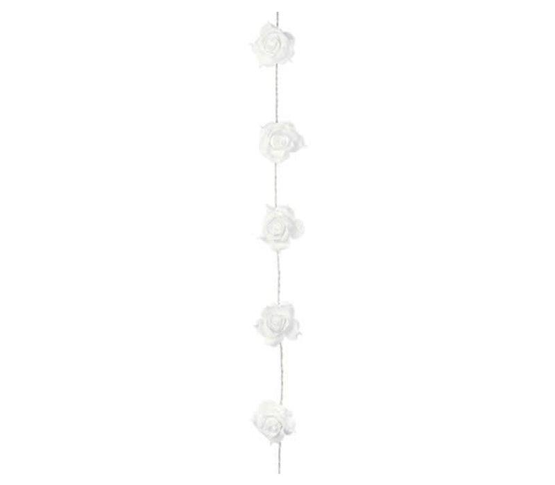 LED Rosengirlande weiss | 20 Rosen, 3 Meter