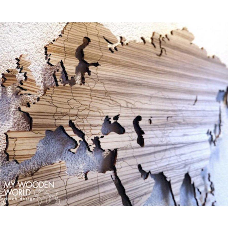 weltkarte holz zebrano my wooden world. Black Bedroom Furniture Sets. Home Design Ideas