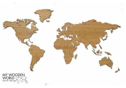 Weltkarte Holz Bambus