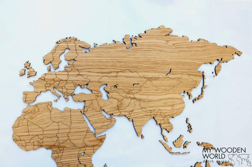 Weltkarte Holz Helles Eiche My Wooden World