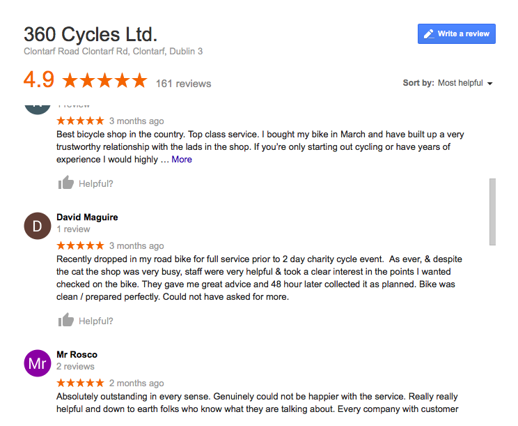 Our customers testimonials on Google