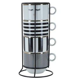 Miss Etoile MU125 Tassen Set - Zwart