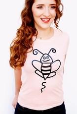 T-shirt Bee Happy Koraal